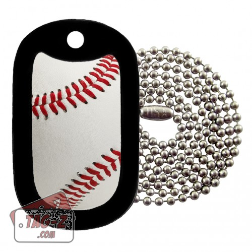 Real Baseball Dog Tag Necklace