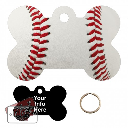 Real Baseball Custom ENGRAVED Pet Tag Tag-Z - Bone Shape