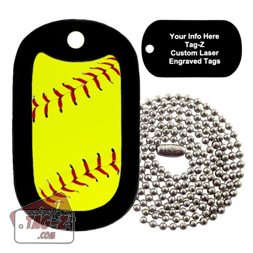 Softball Custom ENGRAVED Necklace Tag-Z