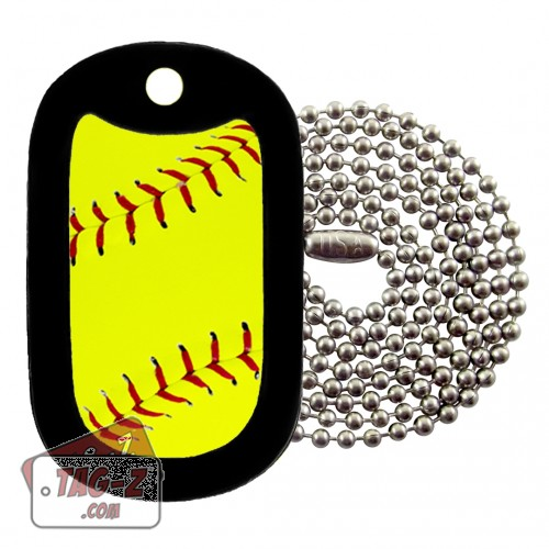 Softball Dog Tag Necklace