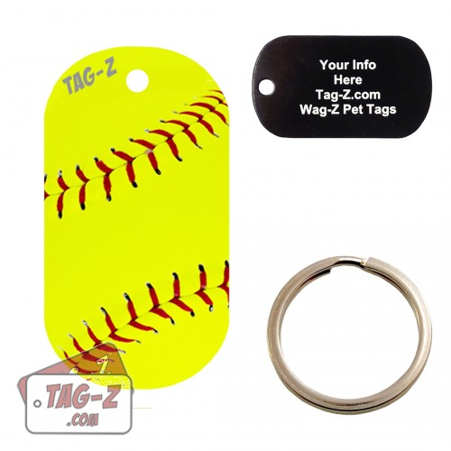 Softball Custom ENGRAVED Pet Tag Tag-Z