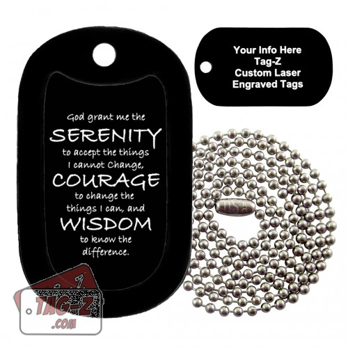 Tag-Z Serenity Prayer Custom ENGRAVED Necklace
