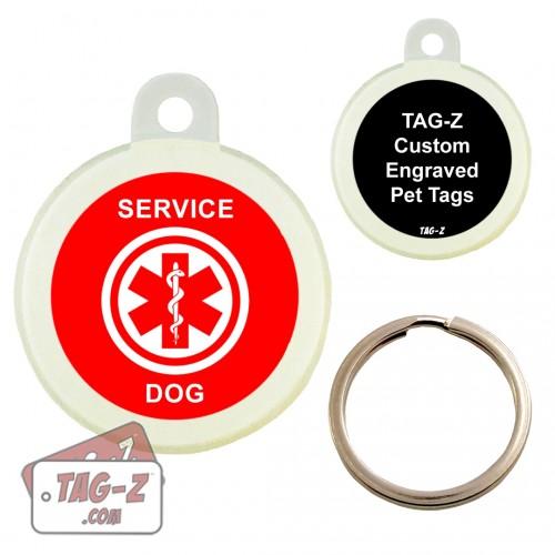Medical Alert - Service Dog Custom ENGRAVED Pet Tag Circle Tag-Z