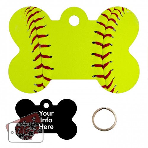 Softball Custom ENGRAVED Pet Tag Tag-Z - Bone Shape