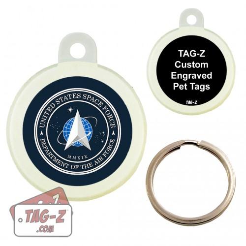 SPACE FORCE Logo Custom ENGRAVED Pet Tag Circle Tag-Z
