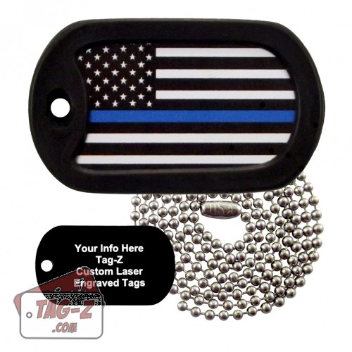 Blue Line Flag Custom ENGRAVED Necklace Tag-Z