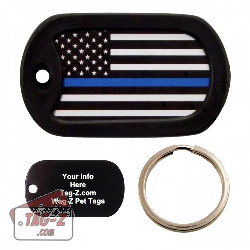 Blue Line Flag Custom ENGRAVED Pet Tag