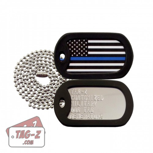 Thin Blue Line Flag Dog Tag Set