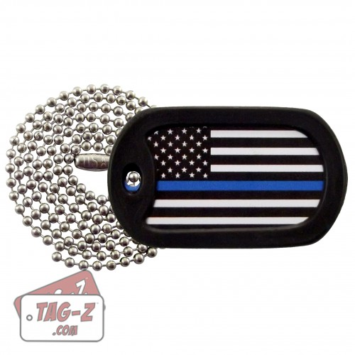 Tag-Z Thin Blue Line Flag Dog Tag Necklace