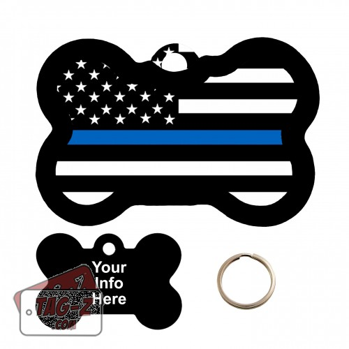 Blue Line Flag Bone Shape Pet Tag