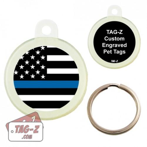 Tag-Z Blue Line Flag Custom ENGRAVED Pet Tag Circle