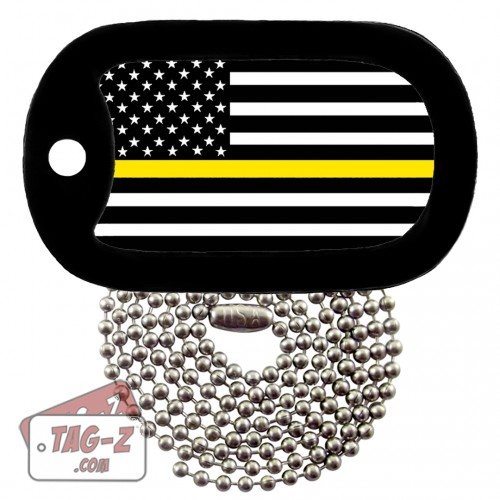 Thin Gold Line Dispatchers Dog Tag Necklace