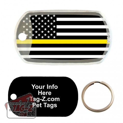 Thin Gold Line Dispatchers Custom ENGRAVED Pet Tag Tag-Z