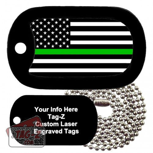 Thin Green Line - Military & Border Patrol Custom ENGRAVED Necklace Tag-Z