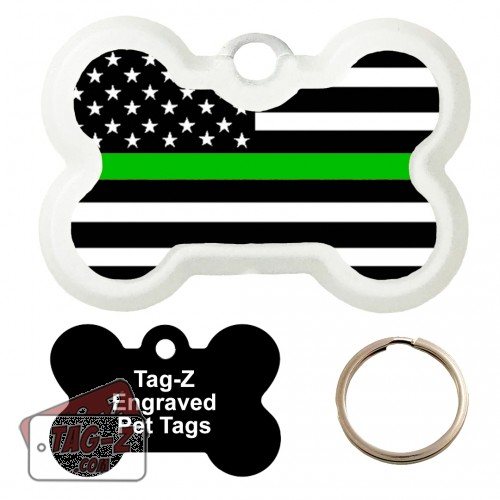 Thin Green Line - Military & Border Patrol Custom ENGRAVED Pet Tag Tag-Z - Bone Shape