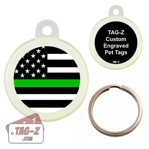 Thin Green Line - Military & Border Patrol  Custom ENGRAVED Pet Tag Circle Tag-Z