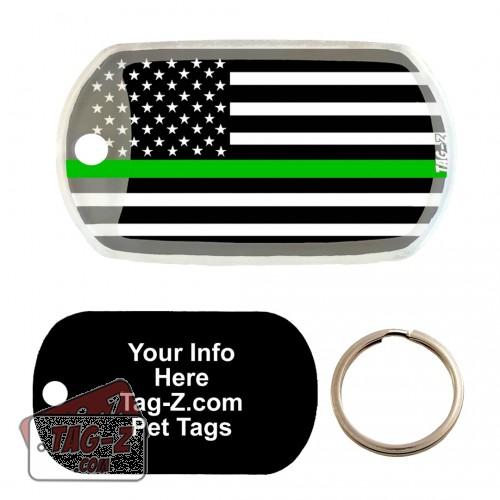 Thin Green Line - Military & Border Patrol Custom ENGRAVED Pet Tag Tag-Z