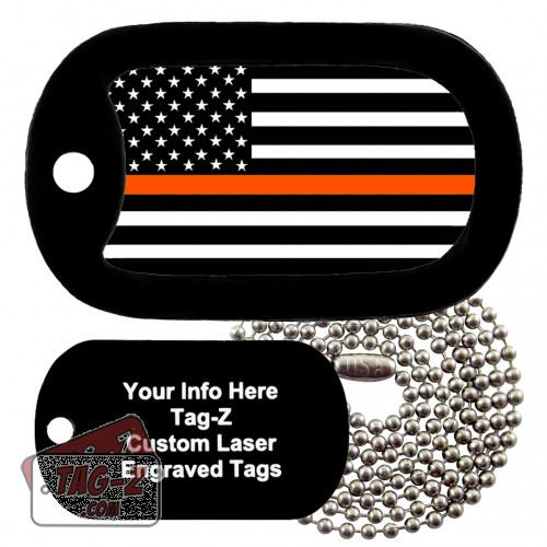 Thin Orange Line - Search & Rescue Custom ENGRAVED Necklace Tag-Z