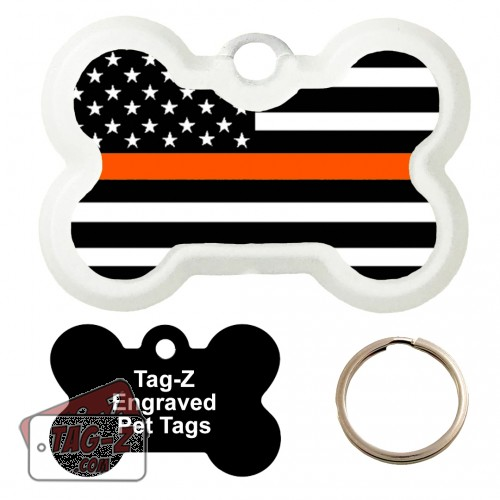 Thin Orange Line - Search & Rescue Custom ENGRAVED Pet Tag Tag-Z - Bone Shape