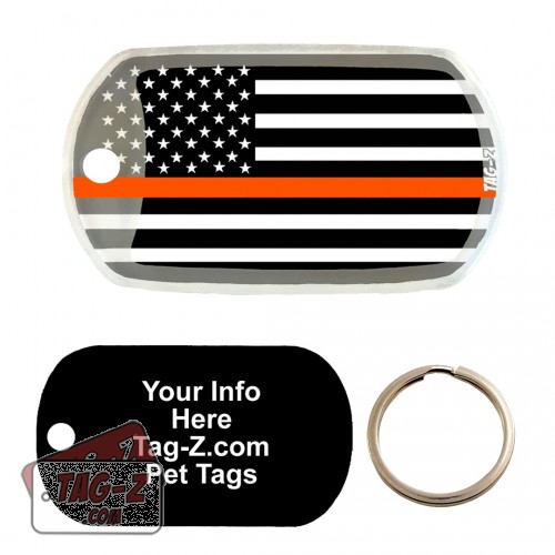 Thin Orange Line - Search & Rescue Custom ENGRAVED Pet Tag Tag-Z