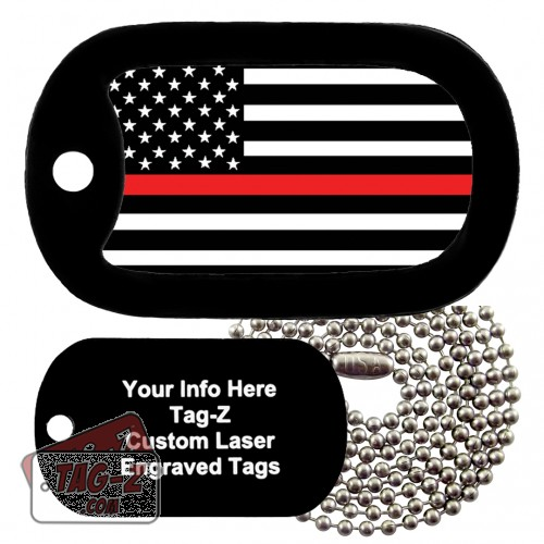 Thin Red Line Flag Custom ENGRAVED Necklace Tag-Z