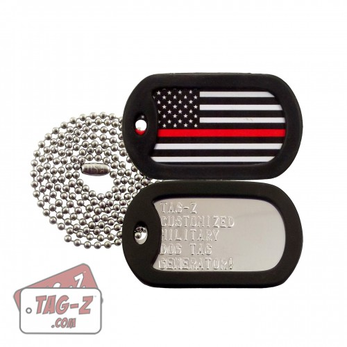 Thin Red Line Flag Dog Tag Set