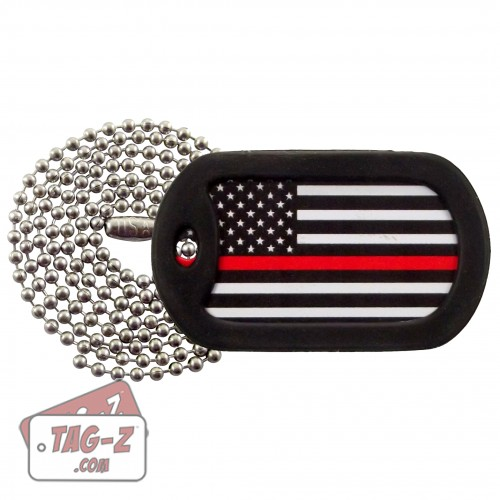 Tag-Z Thin Red Line Flag Dog Tag Necklace