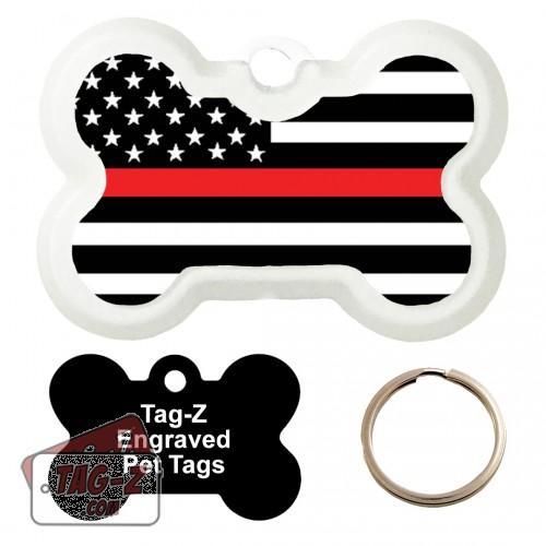 Red Line Flag Custom ENGRAVED Pet Tag Tag-Z - Bone Shape