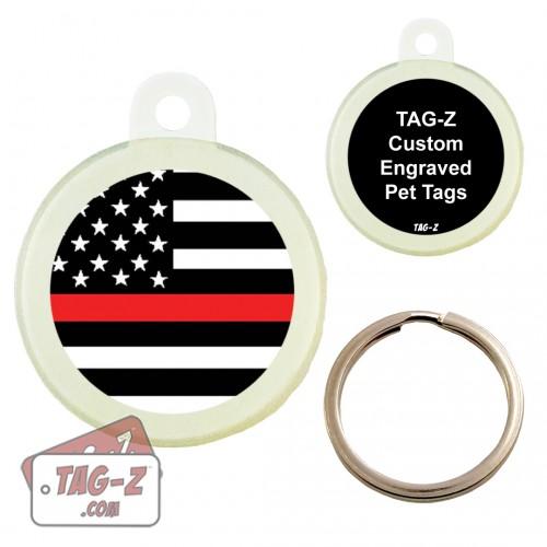 Tag-Z Red Line Flag Custom ENGRAVED Pet Tag Circle