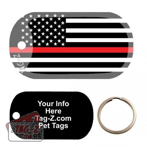 thin red line flag Custom ENGRAVED Pet Tag Tag-Z