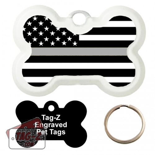 Thin Silver Line - Corrections Custom ENGRAVED Pet Tag Tag-Z - Bone Shape