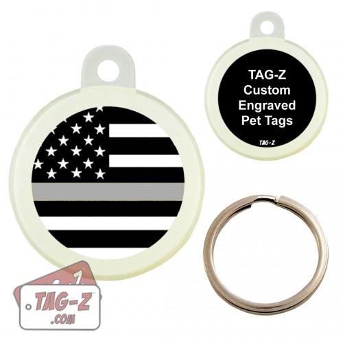 Thin Silver Line - Corrections Custom ENGRAVED Pet Tag Circle Tag-Z