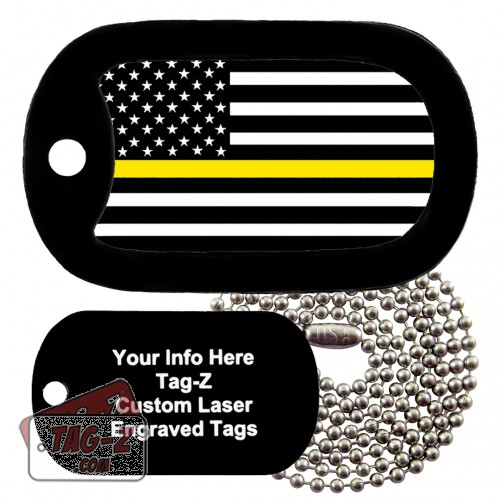 Thin Yellow Line - Security Guards Custom ENGRAVED Necklace Tag-Z