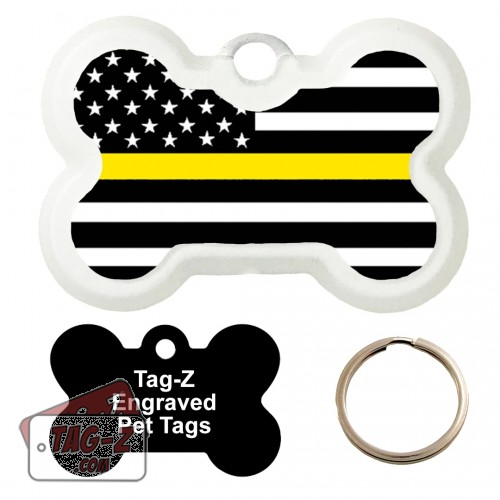 Thin Yellow Line - Security Guards Custom ENGRAVED Pet Tag Tag-Z - Bone Shape