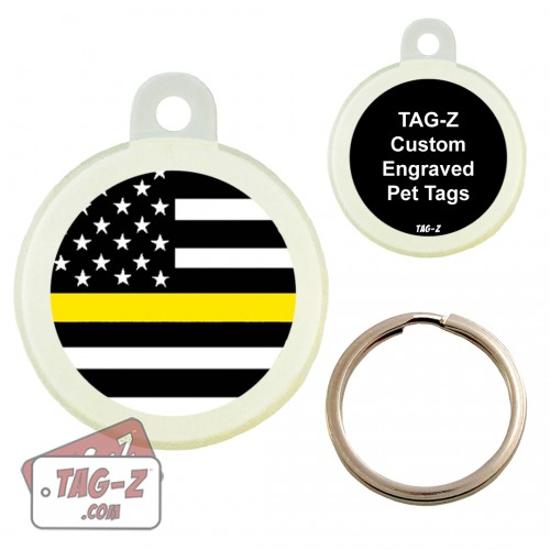 Thin Yellow Line - Security Guards Custom ENGRAVED Pet Tag Circle Tag-Z