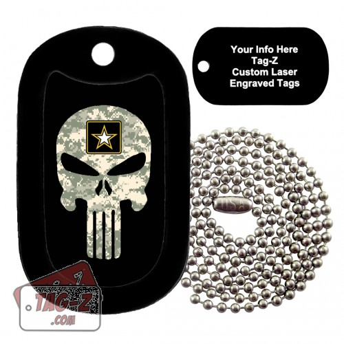 US Army ACU Camo Evil Skull Custom ENGRAVED Necklace Tag-Z