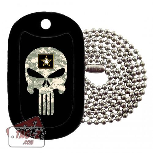 US Army ACU Camo Evil Skull Dog Tag Necklace