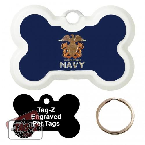 US NAVY Logo Custom ENGRAVED Pet Tag Tag-Z - Bone Shape
