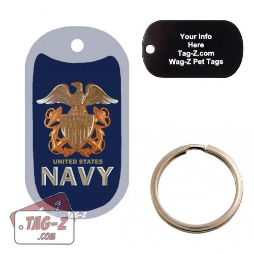 US NAVY Logo Custom ENGRAVED Pet Tag Tag-Z