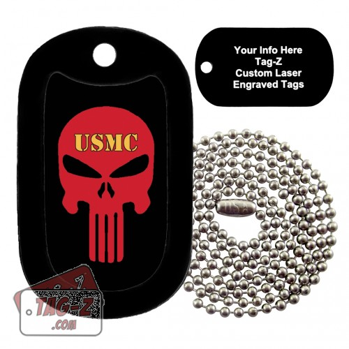 USMC Evil Skull Custom ENGRAVED Necklace Tag-Z