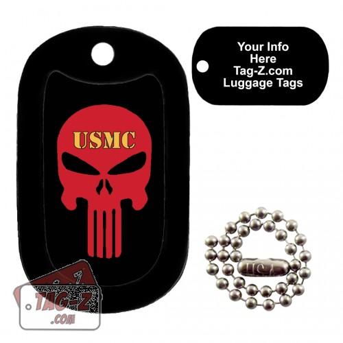 USMC Evil Skull LUGGAGE TAG Tag-Z