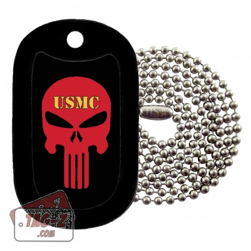 USMC Evil Skull Dog Tag Necklace Tag-Z
